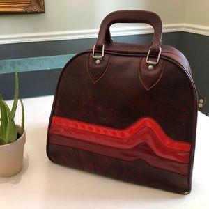 Vintage Bowling Bag in burgundy w retro 70s stripe